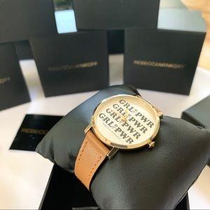 NWT Rebecca Minkoff girl power leather strap watch